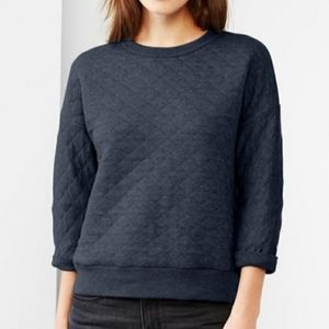 GAP Diamond Quilted Black Pullover Top Size Small